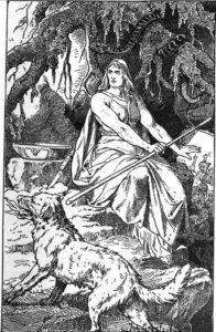 「女主人ヘルと地獄の番犬ガルム」(1889年、ヨハネス・ゲーツ作) パブリックドメイン画像