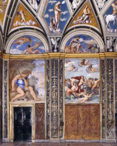 「ガラテアの部屋(『ポリュフェモス』(左)、『ガラテアの凱旋』(右)」(パブリックドメイン画像)