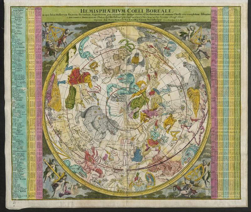 """""""Hemisphaerium Coeli Australe (Boreale), in quo loca Stellarum fixarum secundum Æquatorem, per ascenciones ad annum 1730 completum, sistuntur, a J.G. Doppelmaiėro; operâ J.B. Homanni."""" / Maps K.Top.1.62."""